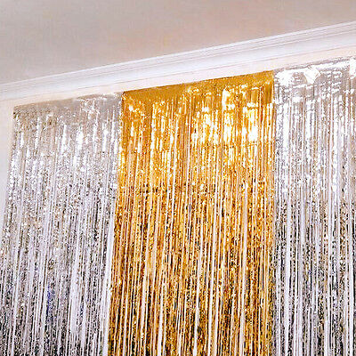 Shimmer Foil Glitter Tinsel Metallic Backdrop Curtain Window Wedding Party Decro
