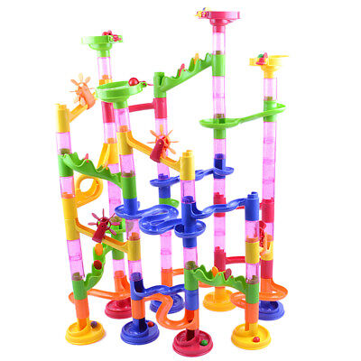 Pack of 105pcs Rainbow Colored Marble Run Construction Building Block Toys