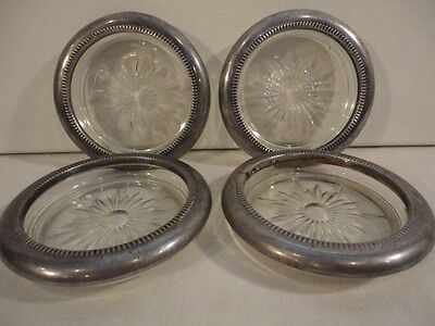 Vintage Set of (4) Leonard Silver Plated Crystal Glass Coaster Ashtrays (Italy)