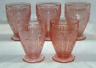 "5 Jeannette CHERRY BLOSSOM PINK *4 1/4"" 8oz TUMBLERS w/ SCALLOPED FOOT*"