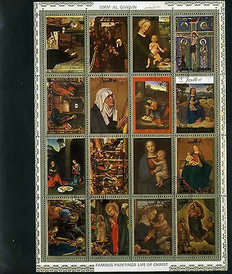 EASTER   FAMOUS PAINTINGS LIFE OF 'CHRIST''      UMM AL QIWAIN  S/S {16 stamps]
