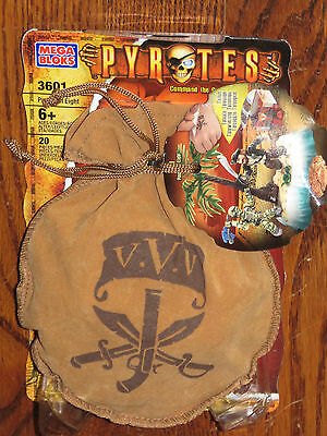 Mega Bloks Rare Pyrates Pirates Pieces of Eight wTreaure Pouch & Tattoo 3601 New