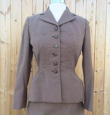 VTG 1940s 1950s Klines 2-PC  WOOL TAILORED SKIRT SUIT Wasp Waist SZ S / M