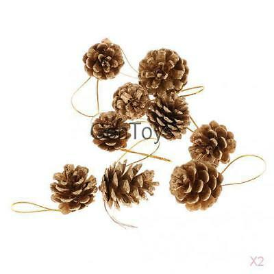 2x9pcs Real Natural Small Pine cones for Christmas Craft Decorations Gold Paint