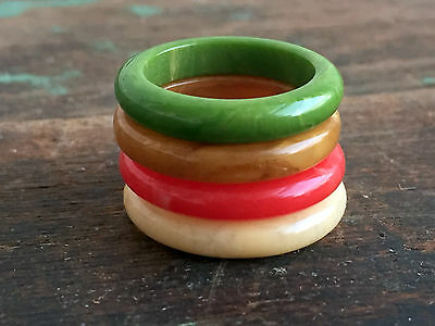 """Vintage lot 4 Bakelite Stacking Band Rings Red,Green,Butterscotch Beige 6 3/4"""""""