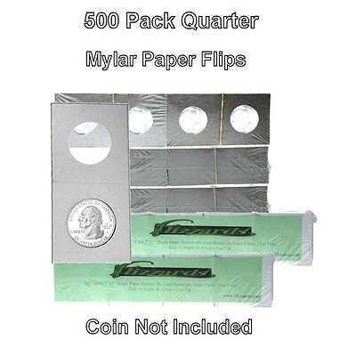 500 Cardboard/Mylar 2x2 Coin Holder Flips for Quarter 24.3mm, by Guardhouse