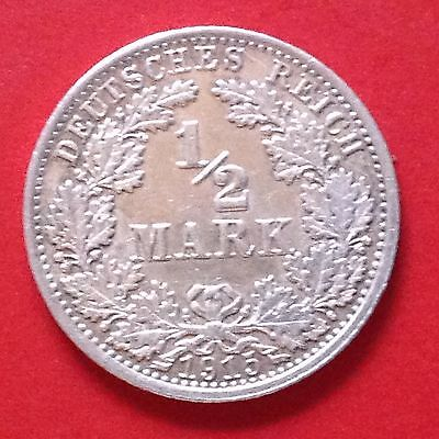 1915-A  Germany 1/2 Mark Silver Coin Empire Reich
