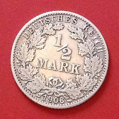 1906-G  Germany Silver 1/2 Mark Coin Empire Reich