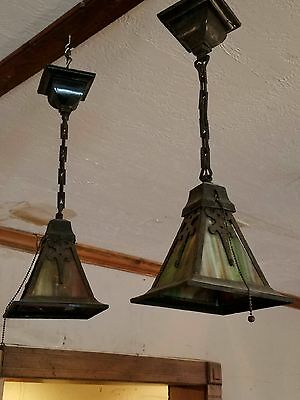 Pair Antique Arts/Craft Pendant Lights Green Slag Glass Mission Style Some Damag