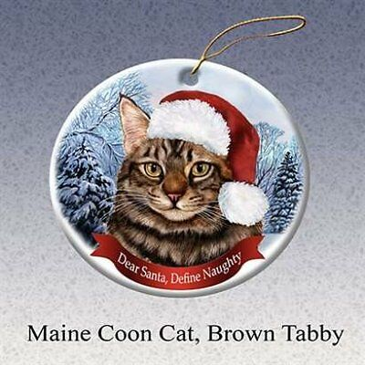 Holiday Maine Coon Cat, Brown Tabby Santa Hat Cat Porcelain Christmas Ornament