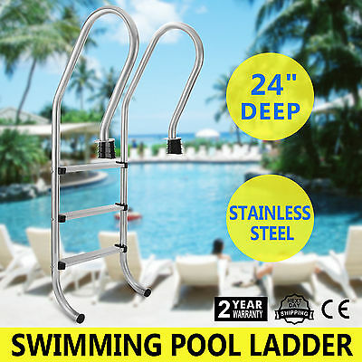 3-Step Swimming Pool Ladder Handrails Polished Rust Resistance Durable Service