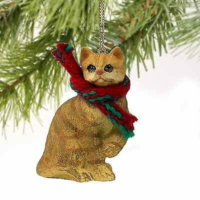 Tabby Cat Tiny Miniature One Christmas Ornament Red Shorthaired - DELIGHTFUL!