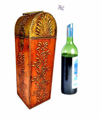 Indian Craft Wooden Gift Box Vintage Wine Storage Box Case Holder Carriers