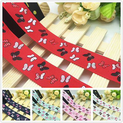 NEW 1 5 10 Yards 1'' 25mm Butterfly Pattern Printed Grosgrain Ribbon Hair Bow J