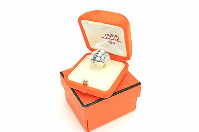 Auth HERMES Horse Design Ring Sterling Silver AG925 US Size 7 EU Size 54 160918
