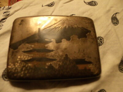 1940s solid silver cigarette case antique with Red  coral ,and jade .