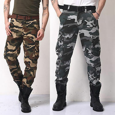 Men's Tactical Military Army Camo Pants Hunting Hiking Straight Cargo Trousers