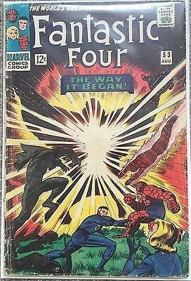 FANTASTIC FOUR # 53 - 2nd BLACK PANTHER APPEARANCE - MARVEL COMICS 1966 GD