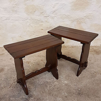 Pair of C17th Style Oak Trestle Side Tables / Stools by Webber Furniture