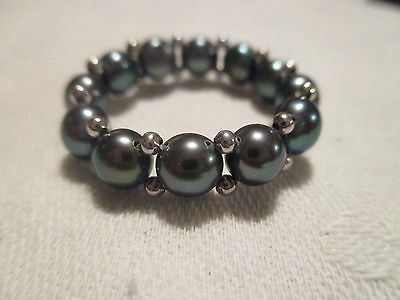 Honora Sterling Silver Genuine Black Cultured Pearl Stretch Ring * New
