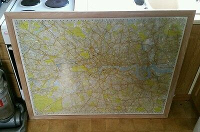 Large framed wall map of london