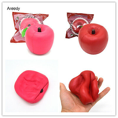 Areedy 1PC 10CM Jumbo Squishy Red Pink Apple Super Slow Rising Scented Fruit Toy