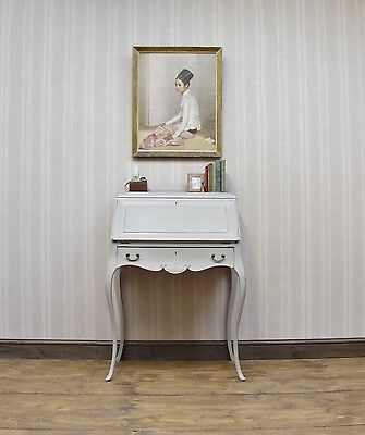 Antique Painted Romantic Style Bureau, Ornate Fall Front Writing Bureau