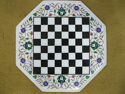 """12"""" Marble  Table Top Semi Precious Stone Inlaid Works Octagon Chess Design"""