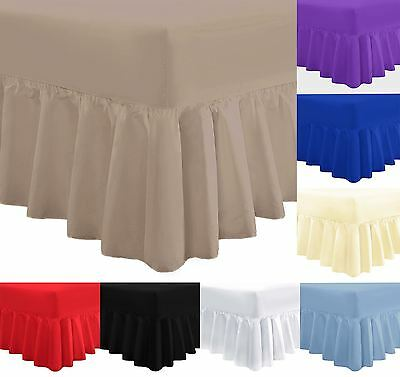 Plain Poly Cotton Frilled Fitted Valance Sheet with 16inch 40cm Skirt Sheets