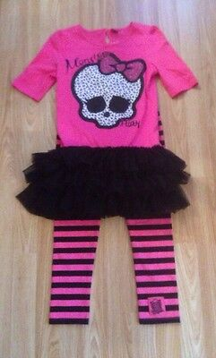 Girls Monster High Dress Top & Leggings Set Pink/Black Age 11-12 BNWT