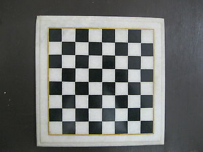 """9"""" Marble Chess Design Table Top Semi Precious Stone Inlaid Indoor Game"""