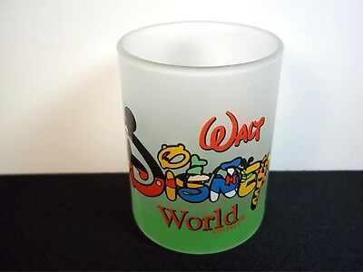"""Walt Disney World votive holder frosted green base character letters 2.5"""" tall"""