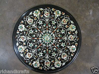 13.5'' Black Semi Precious Stone Inlaid Works Floral Design Marble Table Top