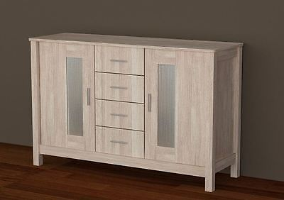 New Wooden Sonoma Light Oak Buffet Sideboard Cabinet With 2 Door & 4 Drawers