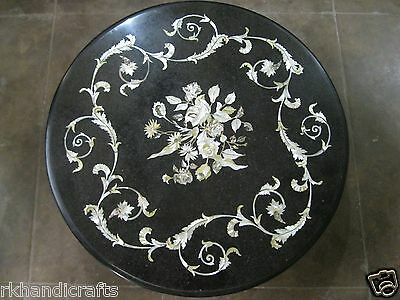 23'' Black Semi Precious Stone Inlaid Works Floral Design  Marble Table Top