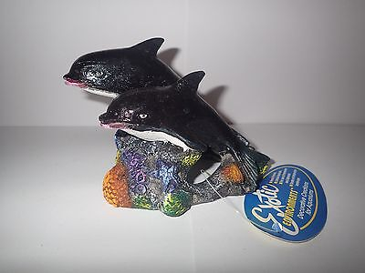 Medium Two Dolphins Aquarium Fish Tank Hide/Cave Ornament Decoration