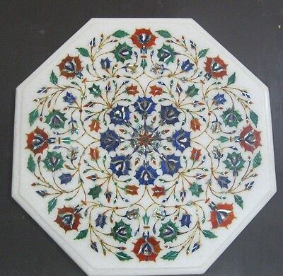 """14""""White Semi Precious Stone Inlaid Works Floral Design Octagon Marble Table Top"""