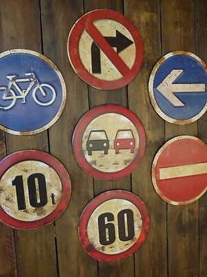 Vintage Antique Industrial Metal Traffic Road Warning Safety Signs Wall Plaques
