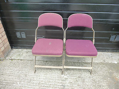 Vintage 'Sandler' Industrial Foldaway Interlocking Auditorium Chairs x2