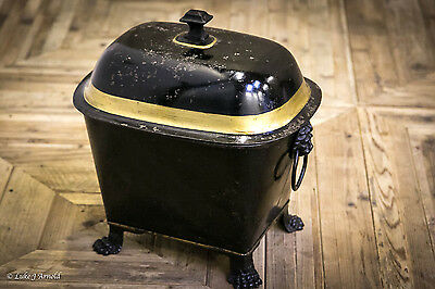 19th Century Victorian Tole Ware Painted Tin Coal Box