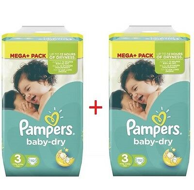 Lot de 2 MEGA PACK PAMPERS BABY-DRY TAILLE 3 ( 224 couches )