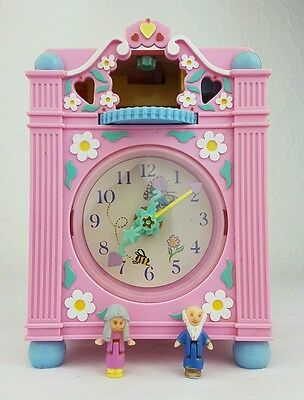 vintage polly pocket Fun Time Clock PlaySet Pink 1991 Figures