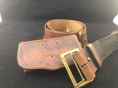 Victorian Period Leather Waist Belt with Pouch.