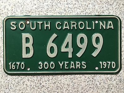 FRAMPERS American 1970 South Carolina 300 Years USA License Number Plate B 6499
