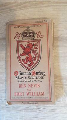"c1932 ""ORDNANCE SURVEY MAP BEN NEVIS & FORT WILLIAM -LINEN- ONE INCH TO ONE MILE"