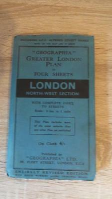 """c1950 """"GEOGRAPHIA - LONDON NORTH-WEST SECTION"""" - LINEN - 3 INCH TO ONE MILE"""