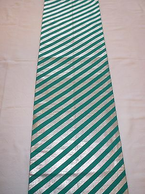 Vintage authentic Japanese fukuro obi for kimono, silver and green (J580)