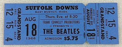1966 08/18 The Beatles at Suffolk Downs, Boston Unsused Full Concert Ticket