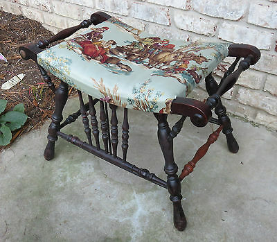Authentic Victorian Upholstered Wood Bench, Seat, Stool For Sewing, Vanity.
