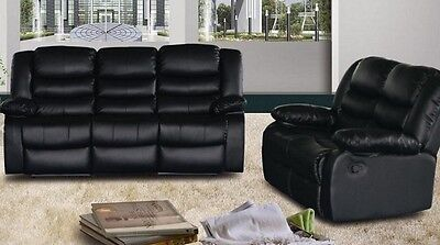 Rose 3 and 2 seater leather recliner sofa - Black